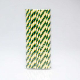 Paper Straw 25 pc - Stripes - Green And Yellow
