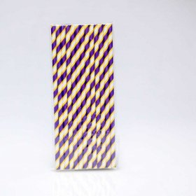 Paper Straw 25 pc - Stripes - Purple And Yellow