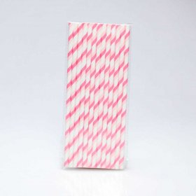 Paper Straw 25 pc - Stripes - Pink And Light Pink