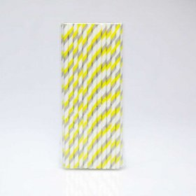 Paper Straw 25 pc - Stripes - Yellow And Grey