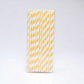 Paper Straw 25 pc - Stripes - Light Yellow And Tan