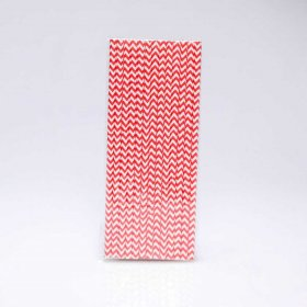 Paper Straw 25 pc - Chevron - Bright Red