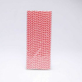 Paper Straw 25 pc - Chevron - Dark Red