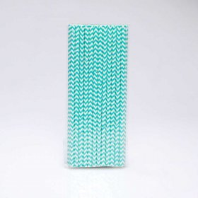 Paper Straw 25 pc - Chevron - Light Aqua