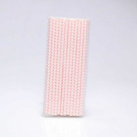 Paper Straw 25 pc - Chevron - Pale Pink