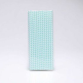 Paper Straw 25 pc - Chevron - Pale Blue