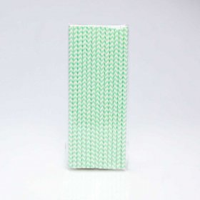Paper Straw 25 pc - Chevron - Mint Green