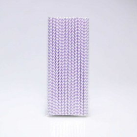 Paper Straw 25 pc - Chevron - Lilac