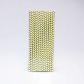 Paper Straw 25 pc - Chevron - Gold