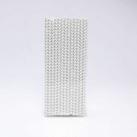 Paper Straw 25 pc - Chevron - Silver