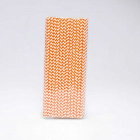 Paper Straw 25 pc - Chevron - Orange