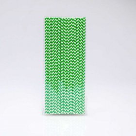 Paper Straw 25 pc - Chevron - Kelly Green