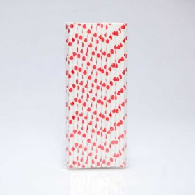 Paper Straw 25 pc - Hearts - Red