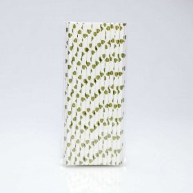 Paper Straw 25 pc - Hearts - Gold