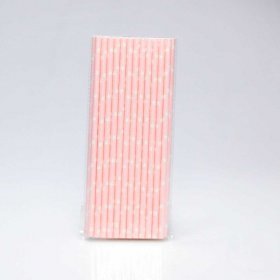 Paper Straw 25 pc - Stars - Light Pink With White Stars