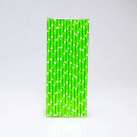 Paper Straw 25 pc - Stars - Lime With White Stars