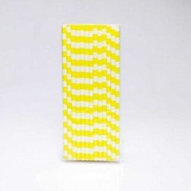 Paper Straw 25 pc - Salor Stripes - Yellow