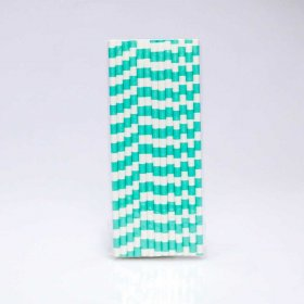 Paper Straw 25 pc - Salor Stripes - Light Aqua
