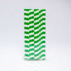 Paper Straw 25 pc - Salor Stripes - Kelly Green