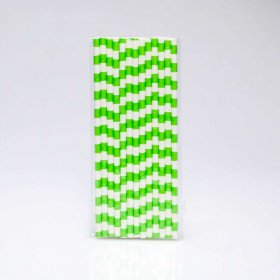 Paper Straw 25 pc - Salor Stripes - Lime Green
