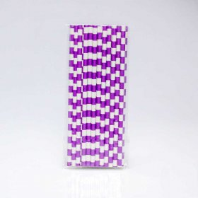 Paper Straw 25 pc - Salor Stripes - Purple