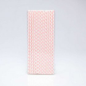 Paper Straw 25 pc - Checker - Light Pink