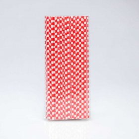 Paper Straw 25 pc - Checker - Red