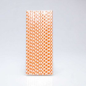 Paper Straw 25 pc - Checker - Orange