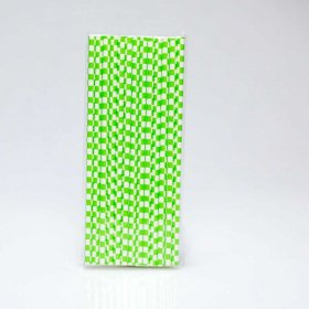 Paper Straw 25 pc - Checker - Lime Green