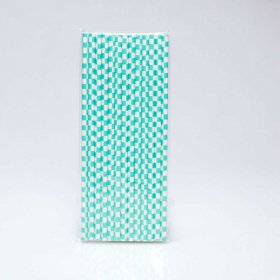 Paper Straw 25 pc - Checker - Light Aqua