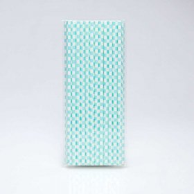Paper Straw 25 pc - Checker - Light Blue