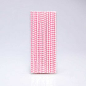 Paper Straw 25 pc - Harlequin - Hot Pink