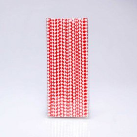 Paper Straw 25 pc - Harlequin - Red