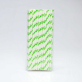Paper Straw 25 pc - Bunting - Lime Green