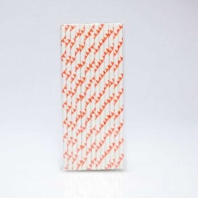 Paper Straw 25 pc - Bunting - Orange