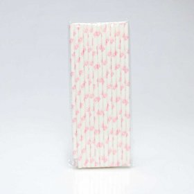 Paper Straw 25 pc - Girl - Pink Crown