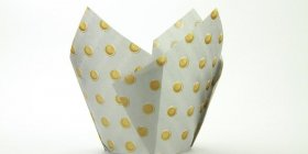250pc Tulip Liner Silver with Gold Dots