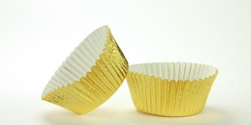 500pc Large Gold Foil Baking Cup With Greaseproof Liner