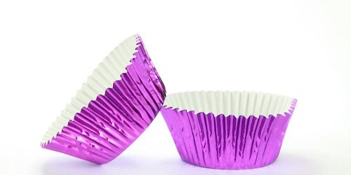 50pc Standard Size Purple Foil Baking Cup With Greaseproof Liner
