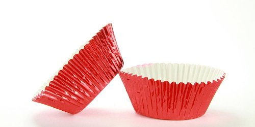 50pc Standard Size Red Foil Baking Cup With Greaseproof Liner