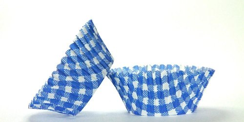 500pc Mini  Greaseproof Baking Cup  Gingham Design Blue