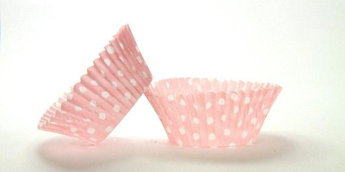 500pc Mini Greaseproof Baking Cup Polka Dot Light Pink  Design..