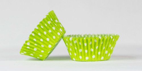 500pc Mini  Greaseproof Baking Cup  Lime Green Polka Dot Design
