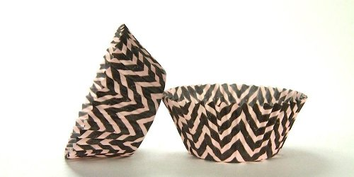 500pc Chevron Design - Black / Pink Standard Size Cupcake Baking Cups Liners Wrappers