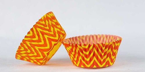 50pc Chevron Design - Orange/Yellow Standard Size Cupcake Baking Cups Liners Wrappers
