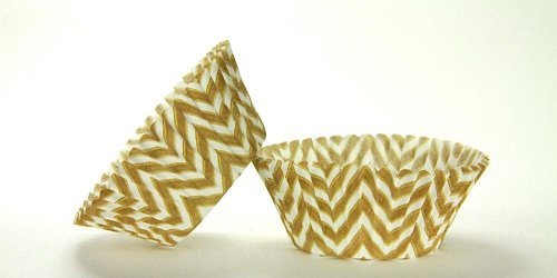 50pc Chevron Design - White / Gold Standard Size Cupcake Baking Cups Liners Wrappers