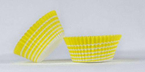 50pc Yellow Circle Design Standard Size Cupcake Baking Cups Liners Wrappers