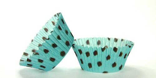 50pc Hot Dot Design Aqua With Brown Dots Standard Size Cupcake Baking Cups Liners Wrappers