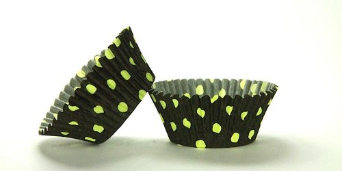 500pc Hot Dot Design Black With Lime Dots Standard Size Cupcake Baking Cups Liners Wrappers