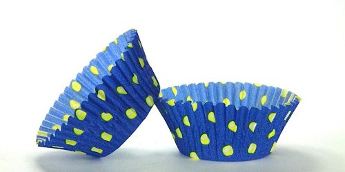 500pc Hot Dot Design Blue With Yellow Dots Standard Size Cupcake Baking Cups Liners Wrappers